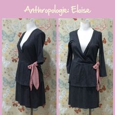 Anthro Wrap Dress/Robe by Eloise Dark grey Pima/modal blend knit.  Wrap style with an inside tie and pink satin outer sash.  3/4 sleeves, relaxed fit.  Great condition. **  Prices are as listed- Nonnegotiable.  I'm happy to bundle to save shipping costs, but there are no additional discounts.  No trades, paypal or condescending terms of endearment  ** Anthropologie Dresses