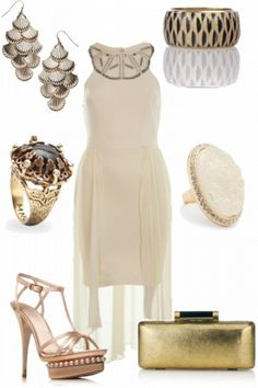 cute nude and cream outfit with pearl platform heels