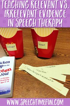 In speech therapy, it is important to teach the difference between relevant and irrelevant evidence. It helps with comprehension of learning materials and is an important skill all students should have. As an SLP I've created several different visuals to help you teach relevant vs irrelevant evidence in your classroom, so click through to my blog to learn more and download tools to help you teach this skill today!