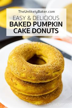 Baked pumpkin cake donuts are soft, tender, delicious and so easy to make. Filled with fall favourites like cinnamon, nutmeg and ginger, plus a generous helping of pumpkin puree, they go perfectly with coffee or tea on a crisp fall day. Follow along with step-by-step video instructions. #videorecipe #pumpkindonut #bakeddonut #cakedonut Baked Pumpkin, Pumpkin Recipes, Fall Recipes, Pumpkin Puree, Pumpkin Pumpkin, Potato Recipes, Best Breakfast Recipes, Brunch Recipes, Dessert Recipes