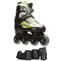 5th Element B2100 Adjustable Boys Skates with Pads 24 BlackGreen >>> Visit the image link more details. (Amazon affiliate link)