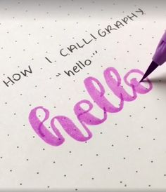 How to calligraphy Hello - hand lettering Calligraphy Video, Calligraphy Handwriting, Calligraphy Letters, How To Caligraphy, Brush Pen Calligraphy, How To Write Calligraphy, Penmanship, Creative Lettering, Pencil Art