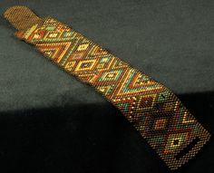 """""""Indian Corn"""" cuff bracelet, peyote stitch, by LeeBeads on www.beadingdaily.com"""