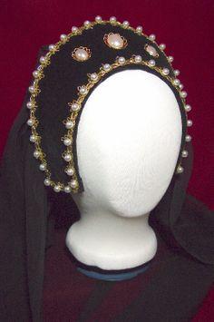 Dragonpipes Tudor Renaissance French Hood Headpiece Hat. $48.50, via Etsy.