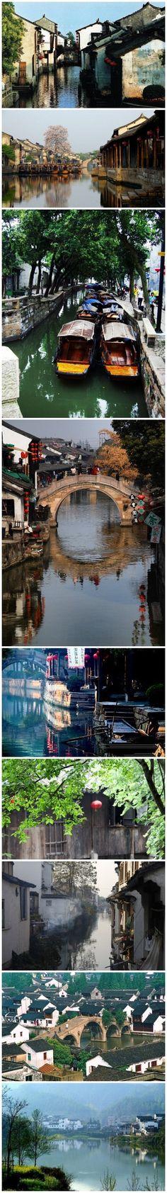 【中国九大最美水乡】1、周庄;2、西塘;3、同里;4、乌镇;5、甪直;6、南浔;7、木渎;8、朱家角;9、光福