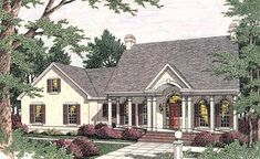 Southern Style House Plans - 2424 Square Foot Home , 1 Story, 3 Bedroom and 2 Bath, 2 Garage Stalls by Monster House Plans - Plan 47-174