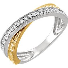 14kt White & Yellow 1/6 CTW Diamond Criss-Cross Ring #MothersDay #CelebrateMom Locate a jeweler near you: http://www.stuller.com/locateajeweler