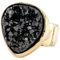 Bcbgeneration Ring, Black Rock Crystal Ring ($35) ❤ liked on Polyvore featuring jewelry, rings, accessories, bags, gold, stretch cocktail rings, rock crystal ring, rock crystal jewelry, black ring and polish jewelry