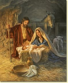 "The Birth of Jesus. - Luke 2:7, ""And she brought forth her firstborn son, and wrapped him in swaddling clothes, and laid him in a manger; because there was no room for them in the inn."""