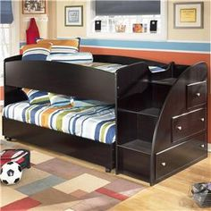 Embrace Twin Loft Bed With Caster Bed And Right Storage Steps By Ashley  (Signature Design) At Johnny Janosik