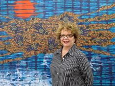 """From the opening reception Merion Estes in front of her painting """"Negative Spaces"""" 2015 fabric collage acrylic and spray paint on canvas 59.5"""" x 73.125"""". . http://cb1.co/9u . . . #CB1Gallery #MerionEstes #DispatchesFromTheFrontLines #painting #FabricCollage #PatternAndDecoration #MixedMedia #collage #ContemporaryArt #当代艺术 #當代藝術 #kunst #arte #ArtsDistrictLA #LosAngeles #DTLA #ArtGallery #ContemporaryArtGallery"""