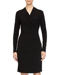 TA36X Neiman Marcus Faux-Wrap Long-Sleeve Dress, Black