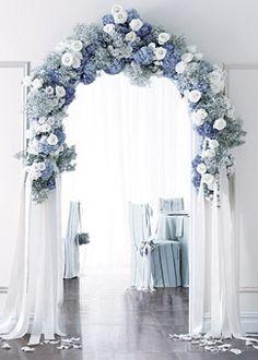 FOR THE RECEPTION    Dreamy blue & white floral arch    NOVELA...where the modern romantics play & plan the most stylish weddings...(Instagram: @novelabride) www.novelabride.com