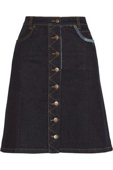 Preen Line Penelope stretch-denim skirt   NET-A-PORTER