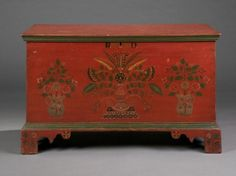 """Dimensions: Ht. 22 ¾"""", W. 38"""" D. 18""""   Date / Circa: c. 1840   Maker / Origin: Att. to Joel Palmer (1812-1884), Fulton County, Pennsylvania   Medium: Poplar with the original painted and polychrome-decorated finish and initialed """"R.D.""""   Miscellaneous: Provenance: Ex-collection of Mrs. Walter B. Ford II, Gross Pointe, Michigan. Literature: For a related example see Fabian, The Pennsylvania-German Decorated Chest, p. 181, fig. 191; p. 182, fig. 193."""