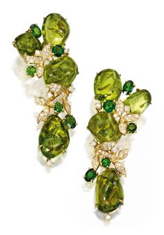 Pair of 18 Karat Gold, Peridot, Diopside and Diamond Earrings, Sifen Chang