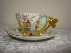 RARE ANTIQUE LIMOGES W.G & Co DELICATE DRAGONFLY GILT HANDLE HP CUP & SAUCER