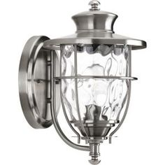 Progress Lighting Beacon Collection Wall-Mount 1-Light Outdoor Stainless Steel Lantern-P6026-135DI at The Home Depot