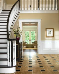 I love this banister... But not so much the floor treatment... Id much prefer a nice hard wood flooring.