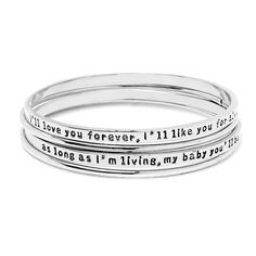 Peermont Jewelry 18k White Goldplated ' I'll Love You Forever, I'll Like You For Always. As Long As I'm Living, My Baby You'll Be...' Bangle Set, Women's