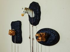 Faux taxidermy glitter jewelry display FREE DOMESTIC SHIPPING. $18.95, via Etsy.