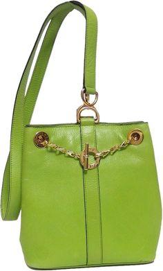 01eb9d199d Authentic CELINE Vintage Chartreuse Green Mini Bucket Shoulder Bag Very Rare