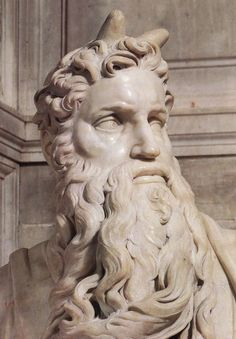 Statue of Moses in the Cathedral of St. Peter Moses in Rome. Sculptor Michelangelo Buonarotti - - If they had only gotten the translation correct, Moses doesn't have horns but if you don't know Hebrew. Italian Renaissance, Renaissance Art, Who Was Moses, Michelangelo Sculpture, Statues, Italian Sculptors, In Ancient Times, Rodin, Renaissance