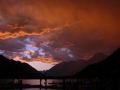 Sunset at the head of Lake Chelan at the Stehekin Landing.  Photo by Billy Sullivan from the ebook A Walk in the Park.