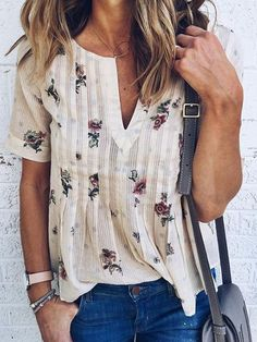 858d420ce952 Chicnico Casual Daily V neck Floral Print Top