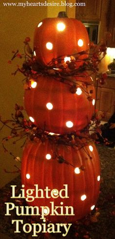 "I saw this done with real pumpkins on The Chew. They alternated these larger holes adding smaller ones. on the real pumpkins you use Vaseline to go everywhere you cute to keep it from ""leaking"".  Lighted Pumpkin Topiary ~~ Easy and Reuse every year if using the fake ones:)"