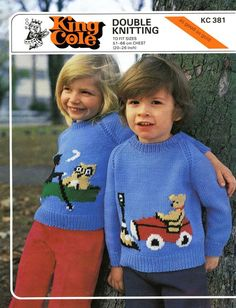 Vintage Childrens Sweater with Motif, Knitting Pattern, (PDF) Pattern, King Cole 381 Vintage Childrens Sweater. Its the owl and the pussy cat Baby Boy Knitting Patterns, Knit Patterns, Baby Knitting, Vintage Patterns, Sewing Patterns, Crochet Crafts, Knit Crochet, Baby Coat, King Cole