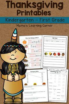 Thanksgiving Worksheets for Kindergarten and First Grade