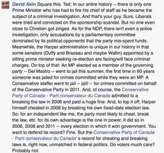 "When did Canadians stop caring about honesty? David Akin's Facebook post on Harper and elections, the cheating & lying. Akin said that as a member of the Ottawa press gallery, he's been pointing out moral & ethical failings of the Harper government since 2008. ""Voters, I can tell you, from letters to the editor, they don't care."" Such a sad commentary on a once proud nation, Canada."