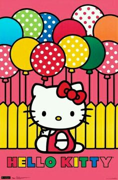 Bright balloons layer over the deep pink background of the Trends International Hello Kitty Mimmy Wall Poster adding vibrant fun.
