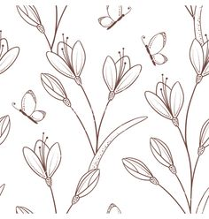 Sketchy seamless pattern with flowers and butterfl vector 4192184 - by zhemchuzhina on VectorStock®