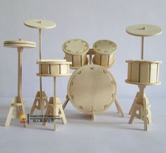 3D Wooden Puzzle Handmade Assembling Toys Drum Rack Model Toys Instrument Toy $17.50
