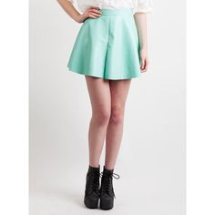 Mint Faux Leather Skater Skirt ($6.24) ❤ liked on Polyvore