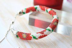Poppies bracelet - Bead crochet jewellery - Gift for her - Seed beads jewellery -Beaded bracelet -Handmade bracelet - Floral bracelet
