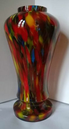 art nouveau spatter glass vase, blue and red