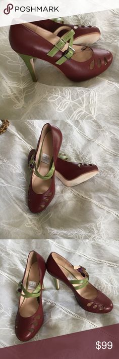 Milk & honey heels Milk &Honey burgundy & green custom designed shoes too cute milk & honey Shoes Heels