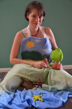 Story Apron - this is such an excellent idea. I want to use this in my practice with children because it sets up a story setting so well for needle-felted characters and props. It provides a 3D realistic landscape that makes a story even more intriguing for children. It is also very interactive and children can certainly wear the apron as well.