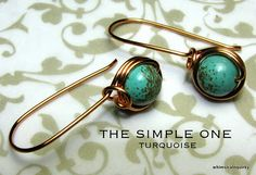 WHIMSICALNQUIRKY HANDMADE WIRE JEWELRY: Handmade Wire Jewelry Earrings : The Simple One, Turquoise, sold
