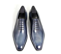 BERLUTI Trompe l'Œil 8 Demesures Indigo Denim Venezia Leather Shoes RRP £1,350