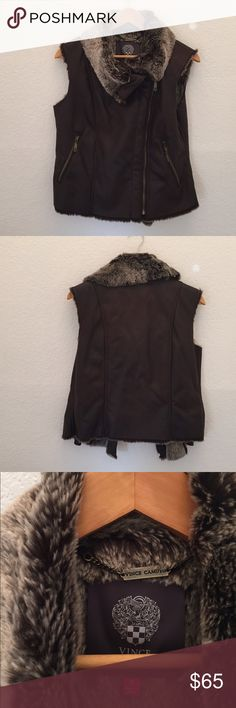 Vince Camuto faux leather vest Fall/winter vest! So cute! Like new Vince Camuto Jackets & Coats Vests