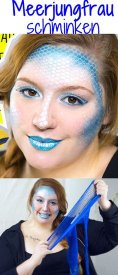 Make-up tips for Carnival Step by step to the perfect f .- Schminktipps für Karneval Step by step zum perfekten Faschings-Look DIY mermaid tutorial for Carnival or Halloween! This costume is so quick and easy! Mermaid Diy, Mermaid Makeup, Fairy Makeup, Diy Mermaid Costume, Diy Makeup Setting Spray, Looks Halloween, Maquillaje Halloween, Makeup Step By Step, Costume Makeup
