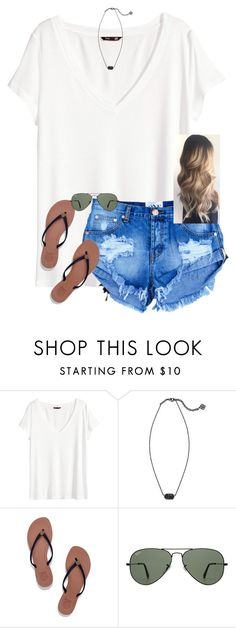 """I wish it would get cold"" by caroline-barker ❤ liked on Polyvore featuring H&M, Kendra Scott, Tory Burch and Ray-Ban"