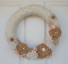 Cottage or Shabby Chic Felt Flower Wreath  by CuriousBloom on Etsy,
