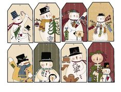 ON SALE 9/24  Snowman Tags by BuffaloCreekCrafts on Etsy, $4.00