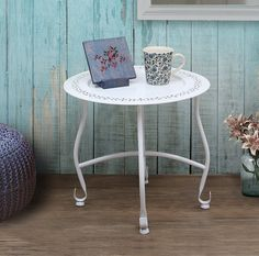 Amazon.com: Round White Moroccan Tray Table Side End Coffee Table Stand Stool…