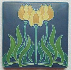 "Motawi Art Tile Glass Pottery  6"" X 6"" Tulips  Rare Color!"